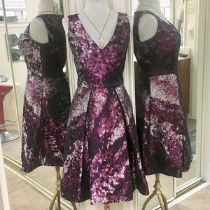 Carolina Herrera Purple Silver & Black Midi Dress